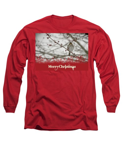 Long Sleeve T-Shirt featuring the mixed media Finch Christmas by Trish Tritz