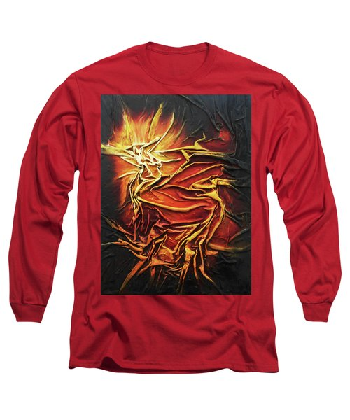 Long Sleeve T-Shirt featuring the mixed media Fire by Angela Stout