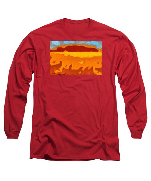 Long Sleeve T-Shirt featuring the digital art Fire Hill by Spyder Webb