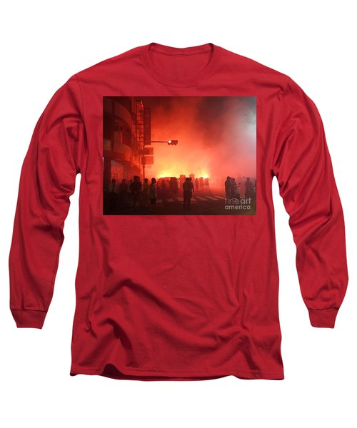 Fireworks During A Temple Procession Long Sleeve T-Shirt by Yali Shi