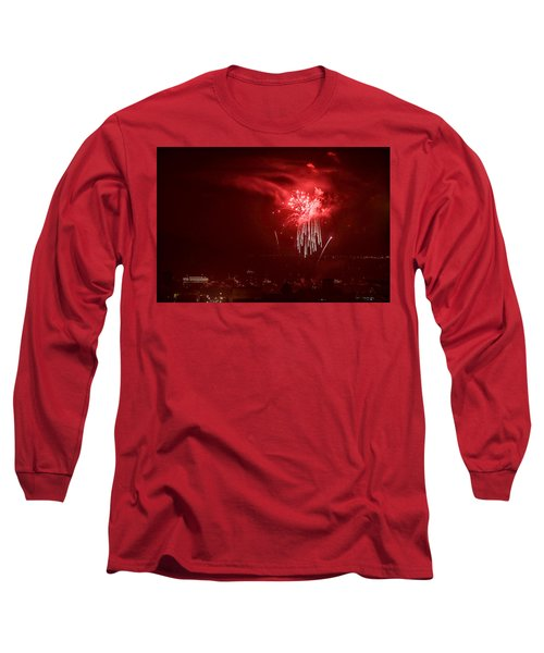 Fireworks In Red And White Long Sleeve T-Shirt