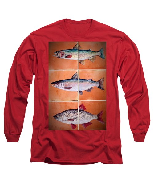 Long Sleeve T-Shirt featuring the ceramic art Fish Mural by Andrew Drozdowicz