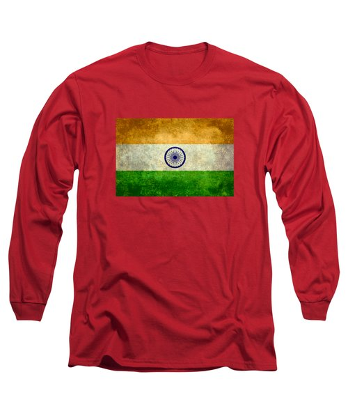 Long Sleeve T-Shirt featuring the digital art Flag Of India Retro Vintage Version by Bruce Stanfield