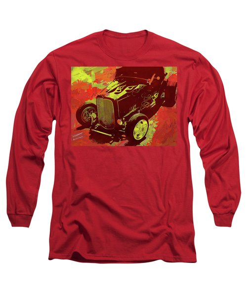 Flamed 1932 Ford Roadster Hot Rod Pop Red Long Sleeve T-Shirt