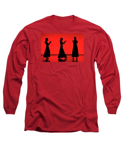 Long Sleeve T-Shirt featuring the photograph Flamenco Red An Black Spanish Passion For Dance And Rithm by Pedro Cardona