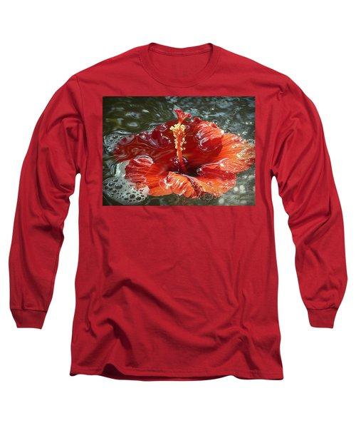 Floating Hibiscus Long Sleeve T-Shirt by Lori Seaman