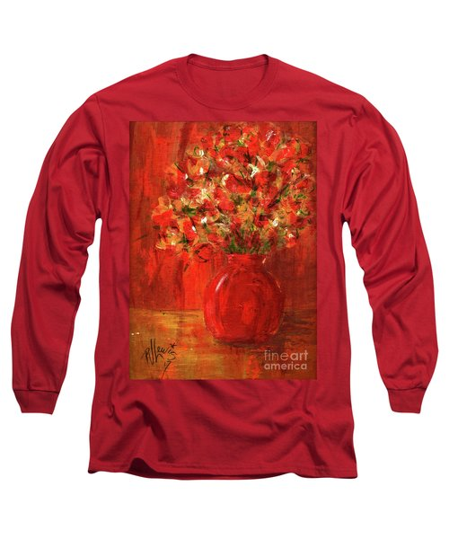 Long Sleeve T-Shirt featuring the painting Florists Red by P J Lewis