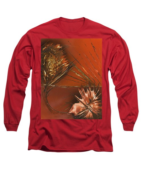 Flower Abstract In Orange And Brown Long Sleeve T-Shirt
