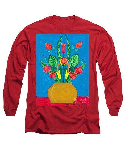 Flower Bowl Long Sleeve T-Shirt by Margie-Lee Rodriguez