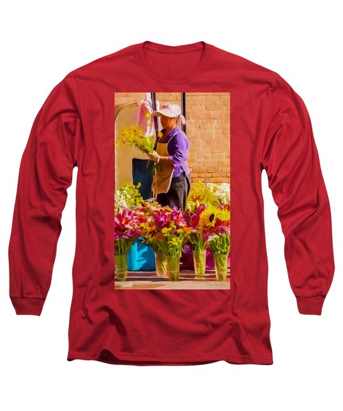 Long Sleeve T-Shirt featuring the photograph Flower Lady by Trey Foerster