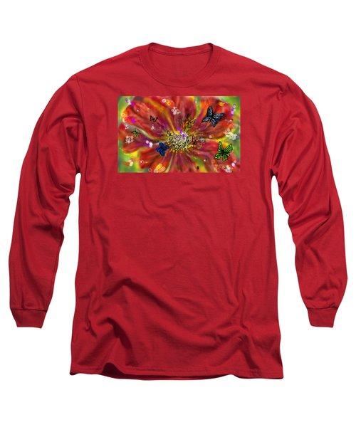 Long Sleeve T-Shirt featuring the digital art Flowers And Butterflies by Darren Cannell