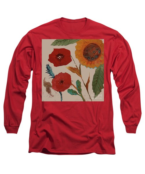 Long Sleeve T-Shirt featuring the painting Flowers Blowing In The Wind by Robin Maria Pedrero