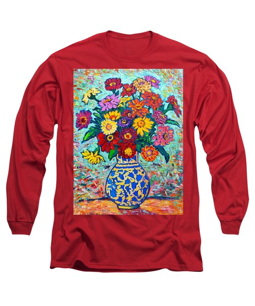 Flowers - Colorful Zinnias Bouquet Long Sleeve T-Shirt