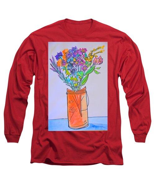 Flowers In An Orange Mason Jar Long Sleeve T-Shirt