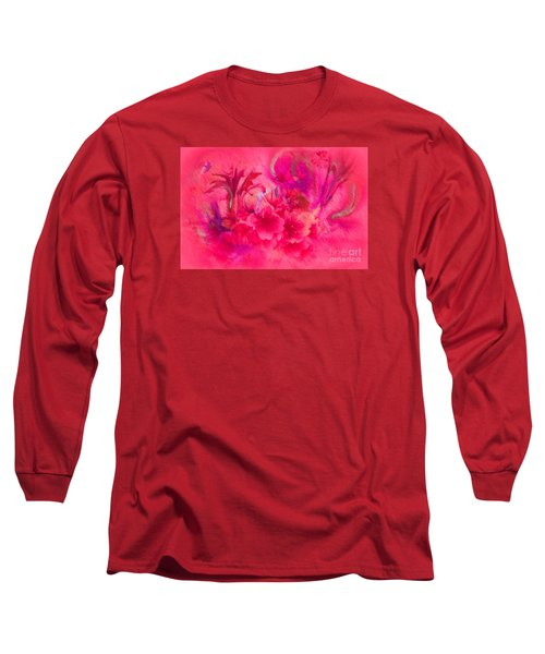 Flower Art Pinky Pink  Long Sleeve T-Shirt by Sherri's Of Palm Springs