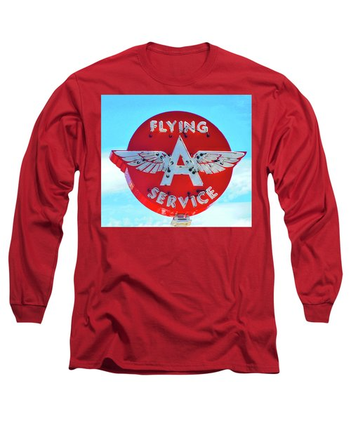 Flying A Service Sign Long Sleeve T-Shirt by Joan Reese