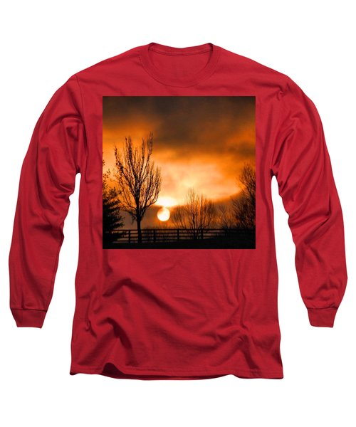Foggy Sunrise Long Sleeve T-Shirt by Sumoflam Photography