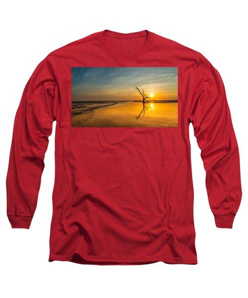 Folly Beach Skeleton Tree At Sunset - Folly Beach Sc Long Sleeve T-Shirt