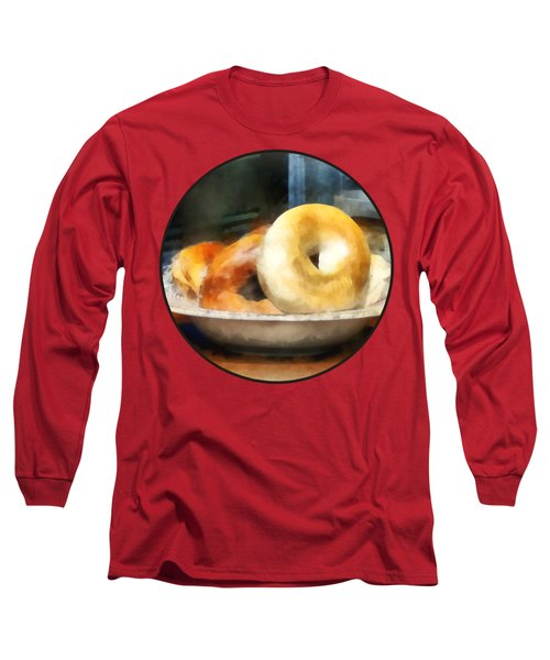 Food - Bagels For Sale Long Sleeve T-Shirt by Susan Savad