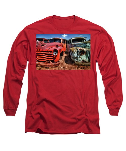 Ford And Chevy Standoff Long Sleeve T-Shirt by Jeffrey Jensen