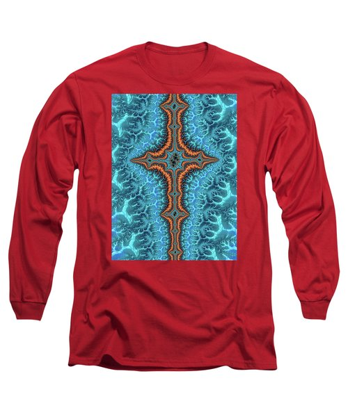 Long Sleeve T-Shirt featuring the digital art Fractal Cross Turquoise And Orange by Matthias Hauser
