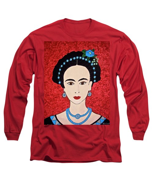 Frida With Blue Flowers Long Sleeve T-Shirt by Stephanie Moore