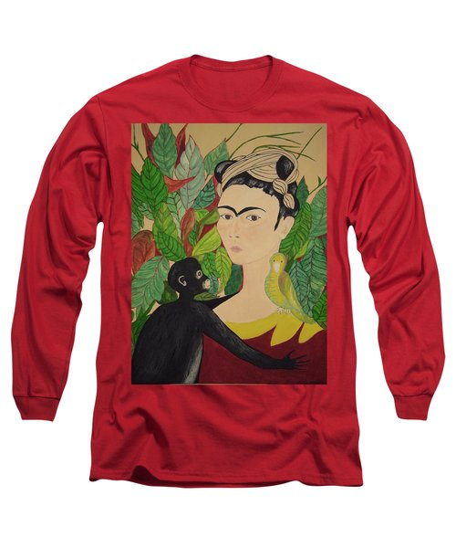 Frida With Monkey And Bird Long Sleeve T-Shirt by Stephanie Moore
