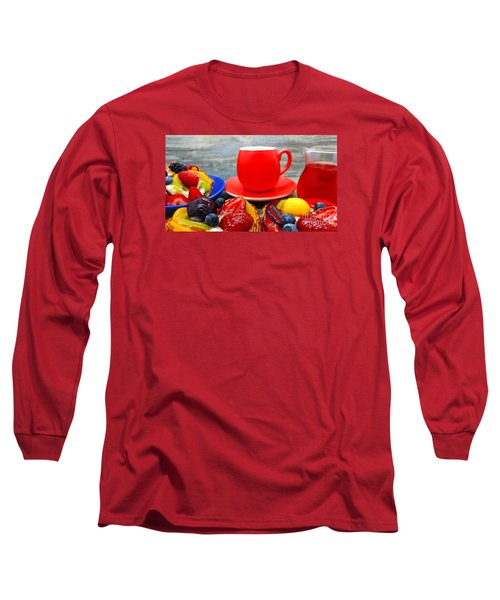 Fruit Desserts And Cup Of Coffee Long Sleeve T-Shirt