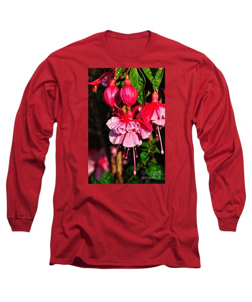Fuchsias With Droplets Long Sleeve T-Shirt