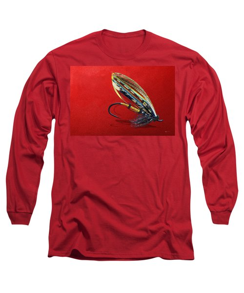 Fully Dressed Salmon Fly On Red Long Sleeve T-Shirt
