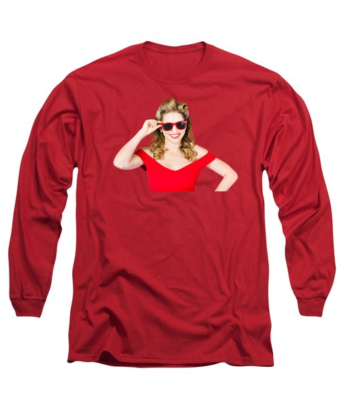 Long Sleeve T-Shirt featuring the photograph Funky Hip Pin-up Blonde In Summer Sunglasses by Jorgo Photography - Wall Art Gallery