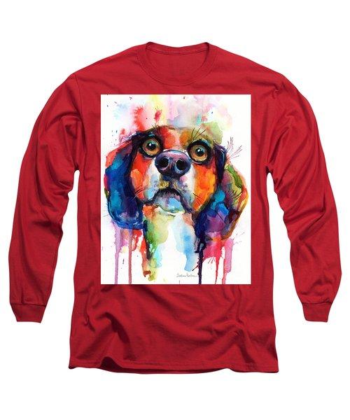 Funny Beagle Dog Art Long Sleeve T-Shirt by Svetlana Novikova