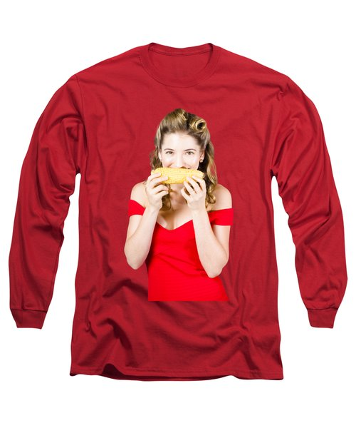 Funny Vegetable Woman With Corn Cob Smile Long Sleeve T-Shirt
