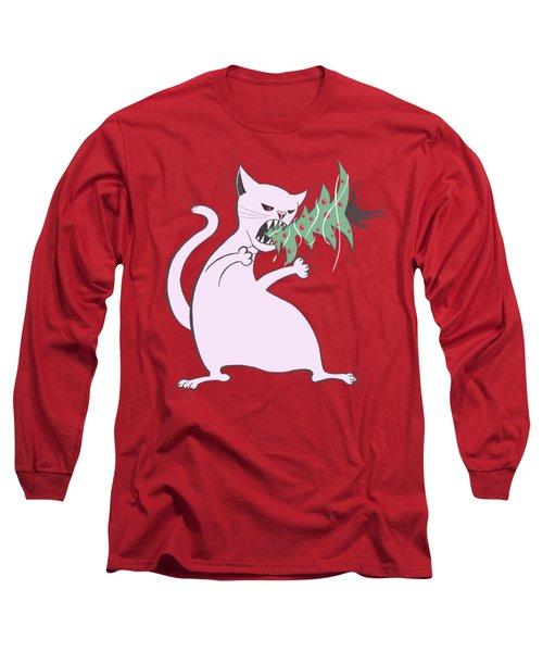 Funny White Cat Eats Christmas Tree Long Sleeve T-Shirt