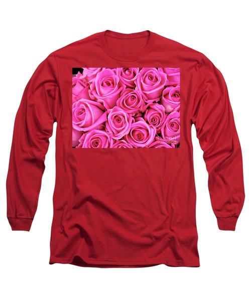 Fuschia Colored Roses Long Sleeve T-Shirt