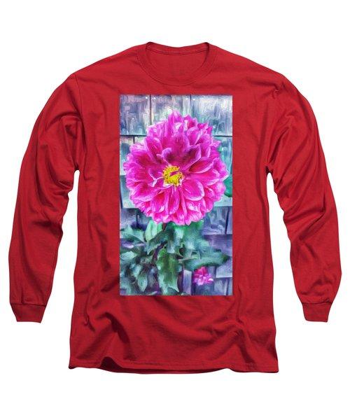 Fuschia Dahlia In Oil Long Sleeve T-Shirt