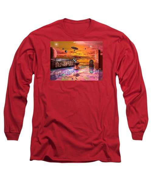 Long Sleeve T-Shirt featuring the digital art Future Horizions Firey Sunset by Jacqueline Lloyd