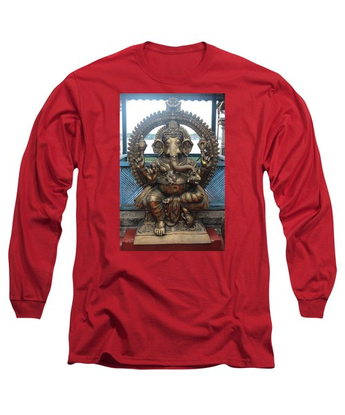 Ganapati Bronze Statue, Fort Kochi Long Sleeve T-Shirt by Jennifer Mazzucco