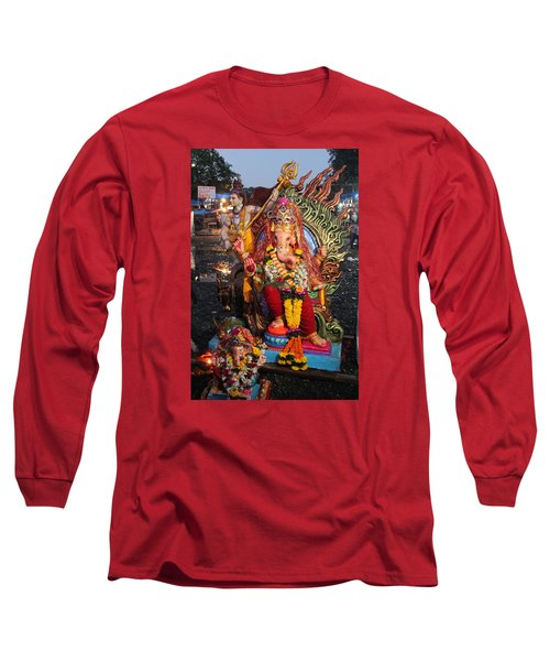 Ganesha Arati On Ganesh Chaturthi, Ganeshpuri Long Sleeve T-Shirt by Jennifer Mazzucco