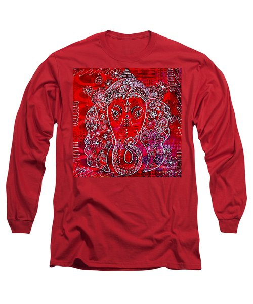Long Sleeve T-Shirt featuring the painting Ganesha by Julie Hoyle