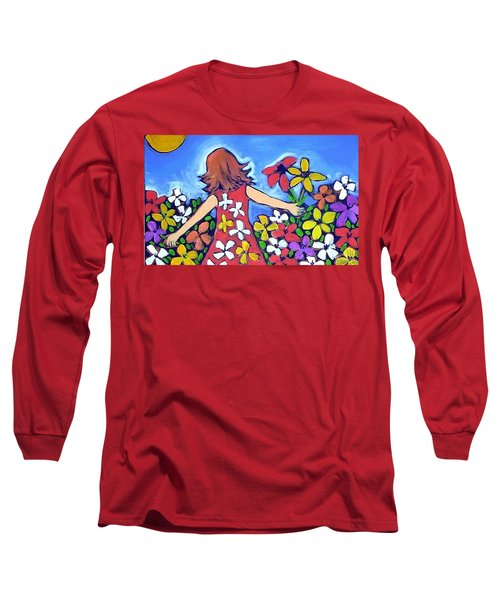 Long Sleeve T-Shirt featuring the painting Garden Of Joy by Winsome Gunning