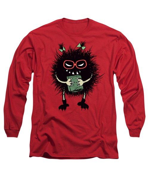 Geek Evil Bug Character Loves Reading Long Sleeve T-Shirt
