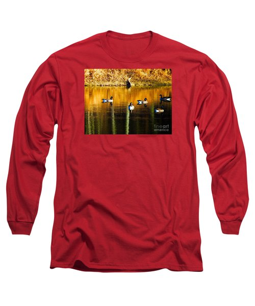 Geese On Lake Long Sleeve T-Shirt