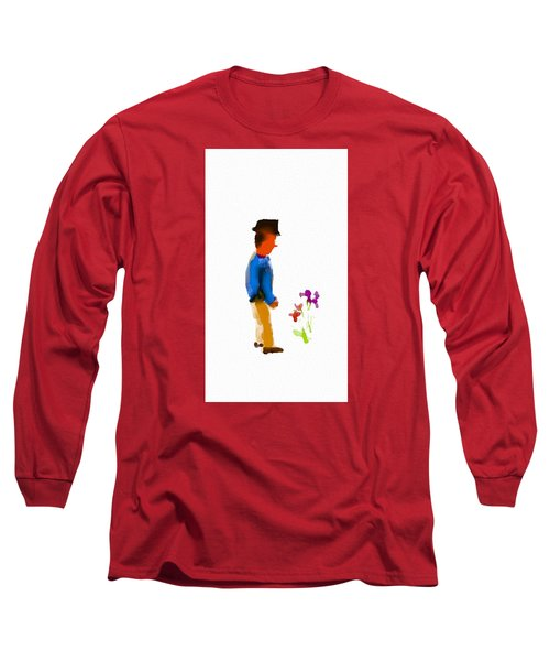 Gentleman Stops To Smell The Flowers Long Sleeve T-Shirt by Frank Bright