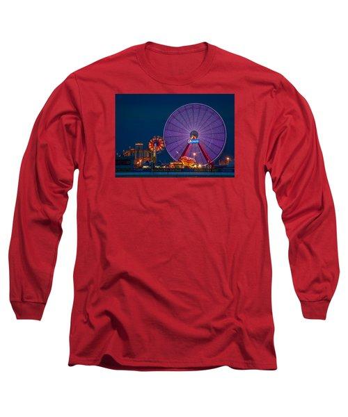 Giant Ferris Wheel Long Sleeve T-Shirt by Wayne King