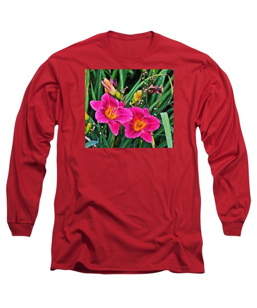Glorious Daylilies Long Sleeve T-Shirt by Janis Nussbaum Senungetuk