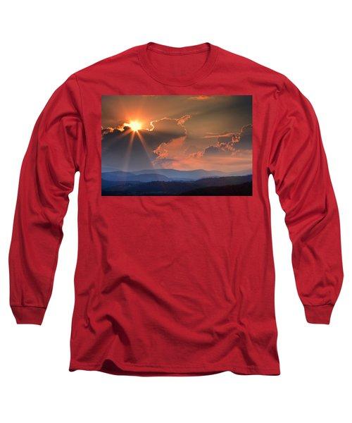 God Rays Over N C  Mountains Long Sleeve T-Shirt