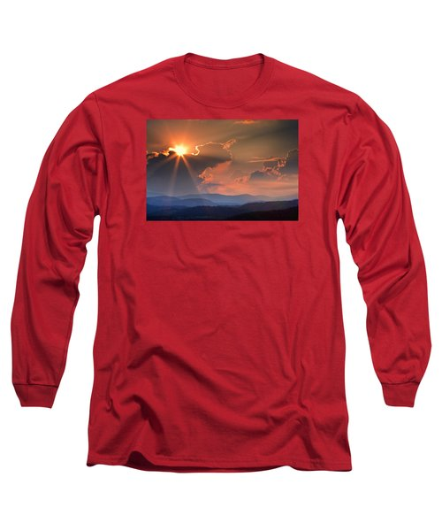 God Rays Over N C  Mountains Long Sleeve T-Shirt