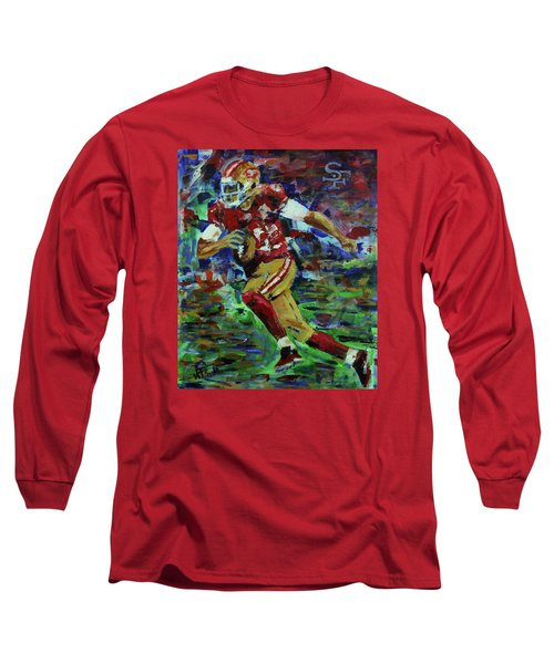 Long Sleeve T-Shirt featuring the painting Gold Blooded 49ers by Walter Fahmy