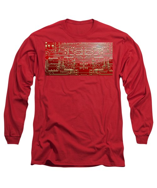 Gold Circuitry On Red Long Sleeve T-Shirt